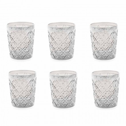 Transparent Glass Glasses with Decorations, 12 Piece Water Service - Morocco