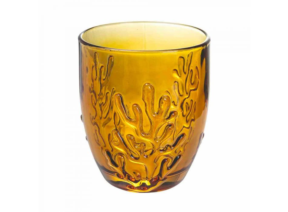 Colored Glass Water Glasses with Coral Decoration, 12 Pieces - Crimson