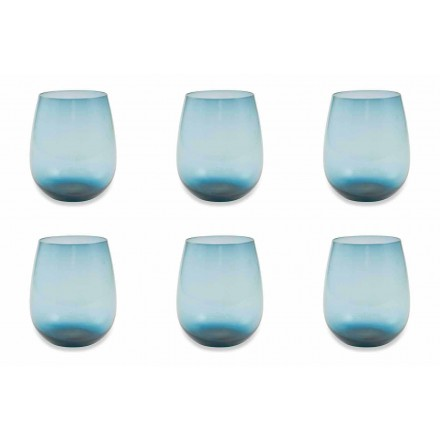 Modern and Colored Glass Water Glasses Service of 12 Pieces - Aperi