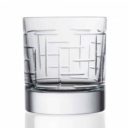Double Old Fashion Crystal Scotch Whiskey Glasses 12 Pcs, Luxury Line - Aritmia