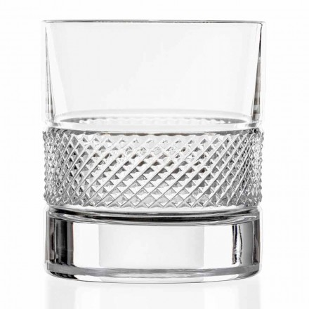 Low Tumbler Glasses in Eco Crystal with Decoration 12 Pcs, Luxury Line - Milito