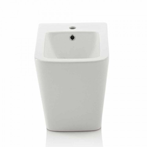 Modern Design Ground Bathroom Bidet in White Ceramic, Made in Italy - Enzu