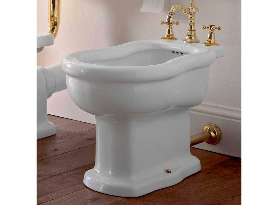 Classic Design White Bidet in White Ceramic Made in Italy - Paulina
