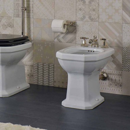 White Ceramic Vintage Style Made in Italy Bidet - Nausica