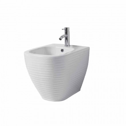 Ground bidet in white or colored glazed ceramic Trabia