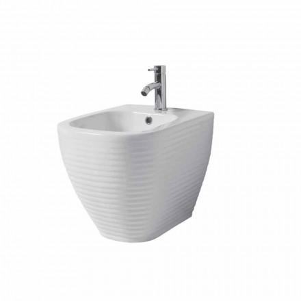 Ground bidet in white or colored glazed ceramic Trabia