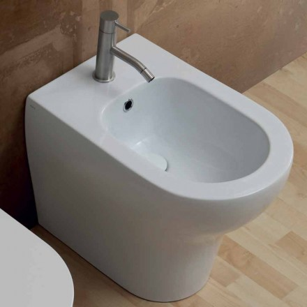 Modern design white ceramic bidet 54x35 cm, made in Italy