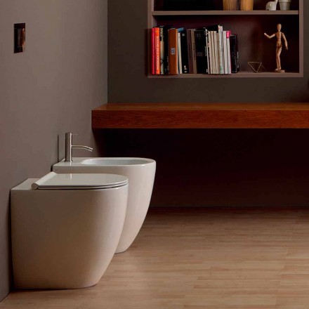 Modern design bidet in ceramic Shine Square Open Rimless H50 cm