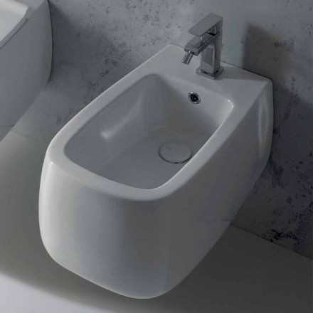 Gaiola design white ceramic wall-hung bidet, produced in Italy