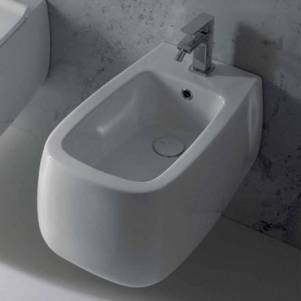 Gaiola design white ceramic wall-hung bidet, produced in Italy