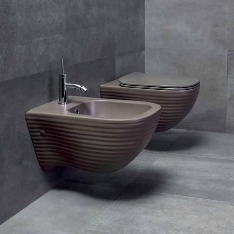 Suspended Bidet of Made in Italy Design in Trabia Ceramics