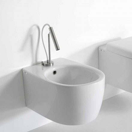 Modern Design Wall Hung Bidet in Colored Ceramic Made in Italy - Lauretta