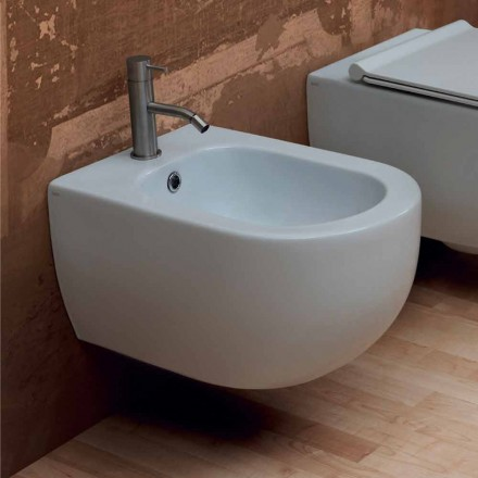 Modern design ceramic wall hung bidet Star 55x35cm made in Italy