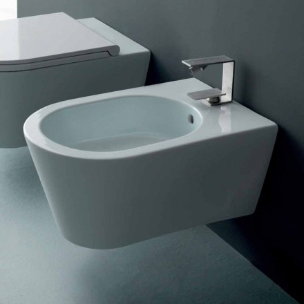 Design ceramic wall-hung bidet Sun Round 57x37cm, made in Italy