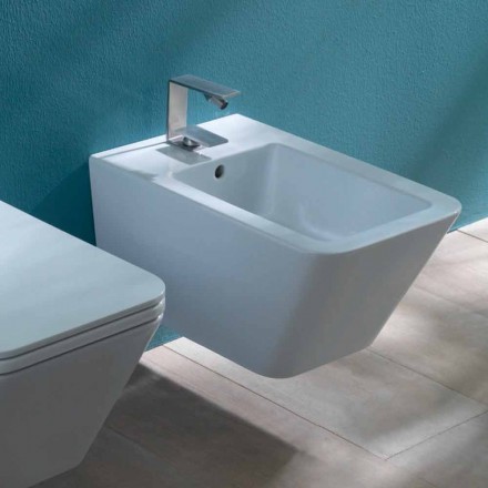 Design suspended ceramic bidet Sun Square 55x35cm, made in Italy