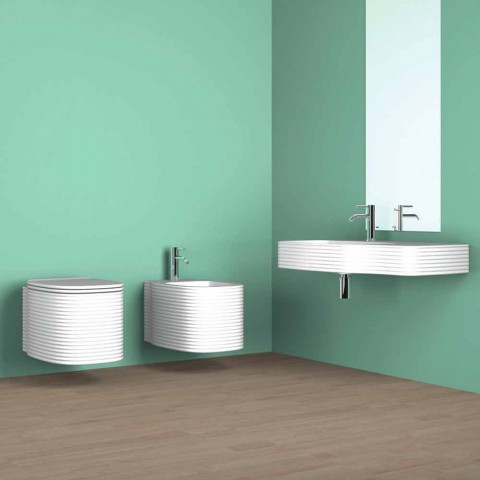 Wall-hung ceramic bidet of modern design produced in Italy, Hamlet