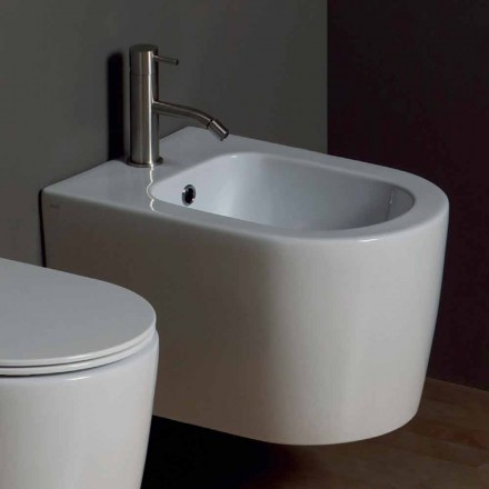 Modern ceramic wall hung bidet Shine Square 50x35cm, made in Italy