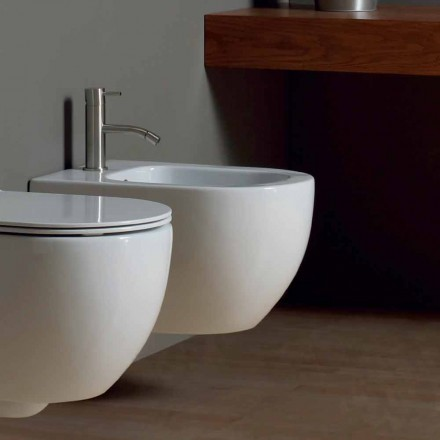 Modern wall hung bidet in white ceramic Star 50x35cm made in Italy