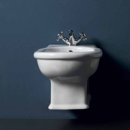 Classic wall hung bidet in white ceramic Style 54x36 cm, made in Italy