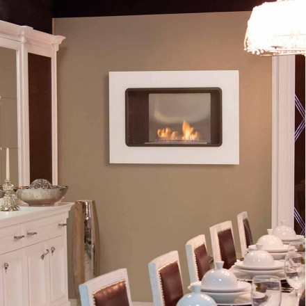 Wall Bioethanol Fireplaces with a Modern Design, White Color - Erica