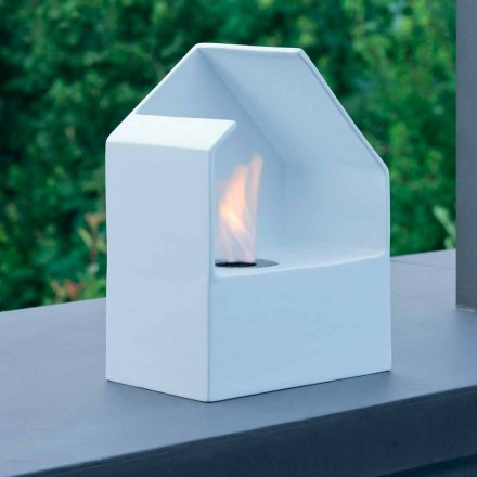 Modern tabletop bioethanol fireplace made of steel and ceramic Curtis