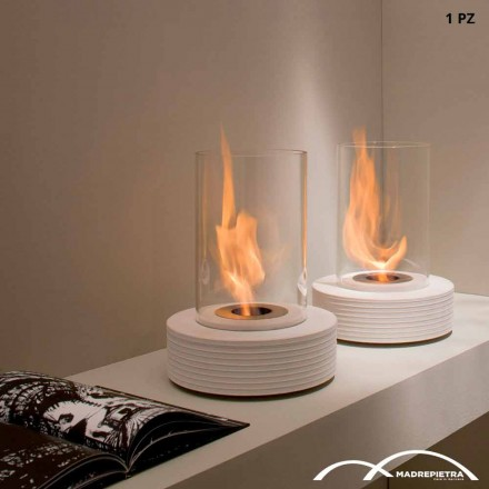 Tabletop bioethanol fireplace made of marble Gordon, modern design