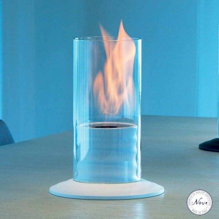 Tabletop bio ethanol fireplace made of ceramic and glass Larry