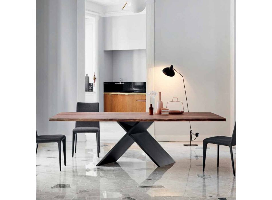 Bonaldo Ax design table in wood with natural edges made in Italy