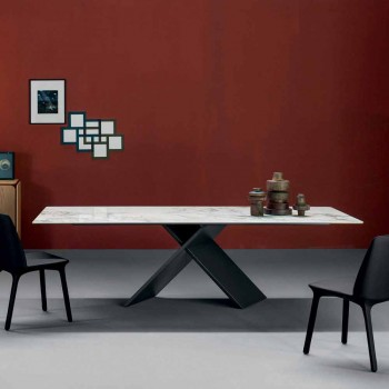 Bonaldo Ax flat design table in ceramic metal base made in Italy