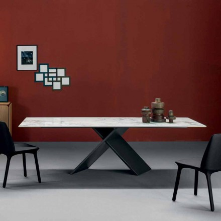 Bonaldo Ax dining table with metal base and ceramic top, made in Italy