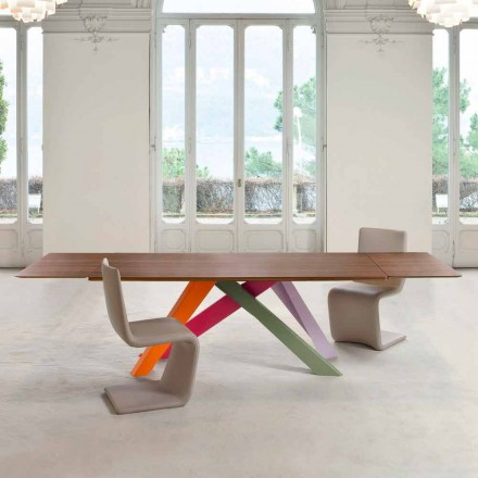Bonaldo Big Table extending table with wood veneer top, made in Italy