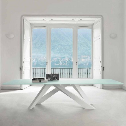 Bonaldo Big Table table with extra-clear crystal top, made in Italy