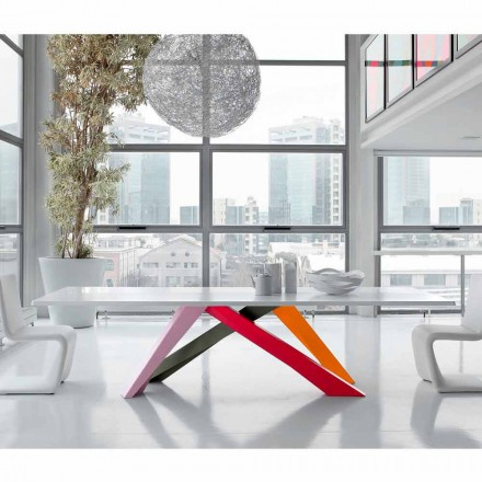 Bonaldo Big Table table with white lacquered wooden top, made in Italy