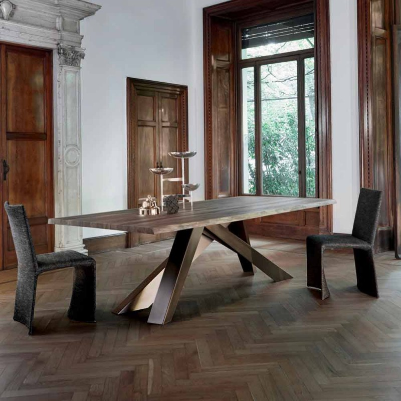 Bonaldo Big Table solid wood table natural edges made in Italy