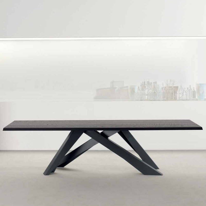 Bonaldo Big Table solid anthracite gray wood table made in Italy