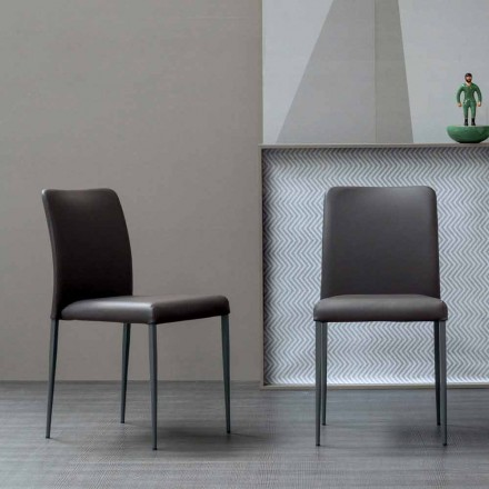 Bonaldo Deli design chair with upholstered leather seat made in Italy