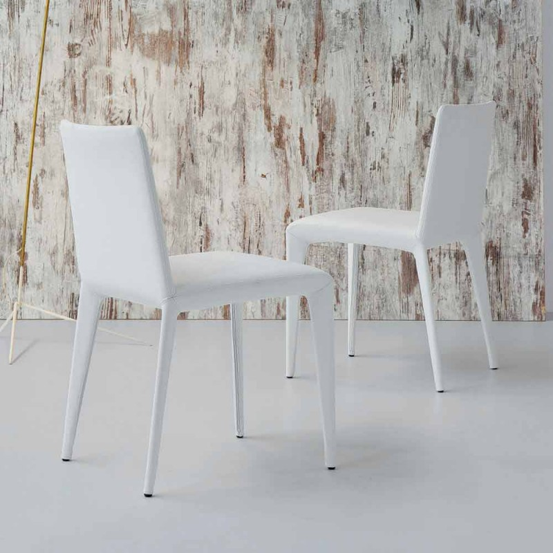 Bonaldo Filly upholstered design chair in white leather made in Italy