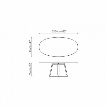 Bonaldo Greeny oval table in crystal and wood design made in Italy