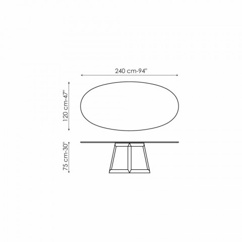 Bonaldo Greeny design oval table in Marquinia marble made in Italy