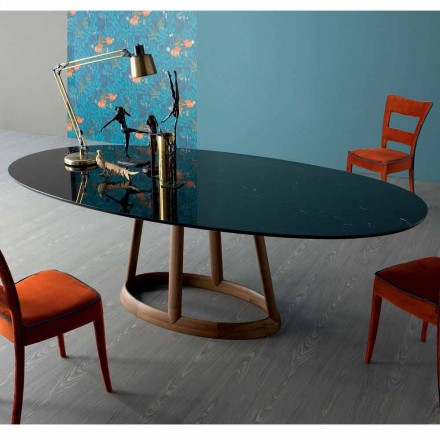 Bonaldo Greeny oval dining table, Marquinia marble top, made in Italy
