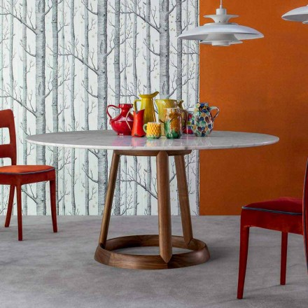 Bonaldo Greeny round table with Calacatta marble top, made in Italy
