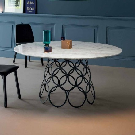 Bonaldo Hulahoop round table with Calacatta marble top, made in Italy