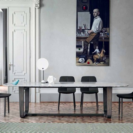 Bonaldo Medley dining table in Calacatta marble, made in Italy