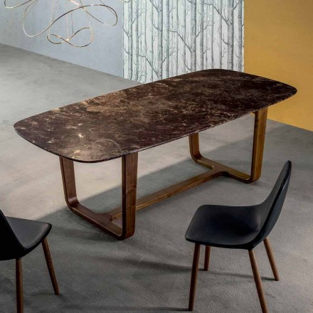 Bonaldo Medley table with marble top and wooden legs, made in Italy