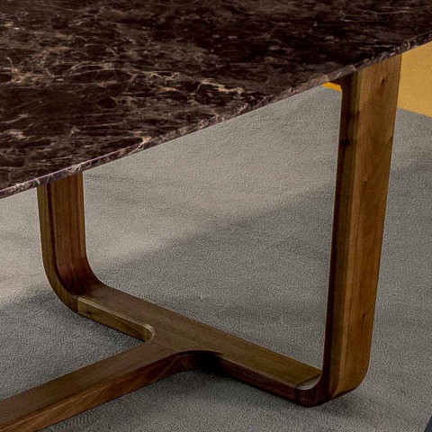 Bonaldo Medley table design marble floor wood legs made in Italy
