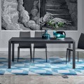 Bonaldo Menù extending table with anthracite crystal top, made in Italy
