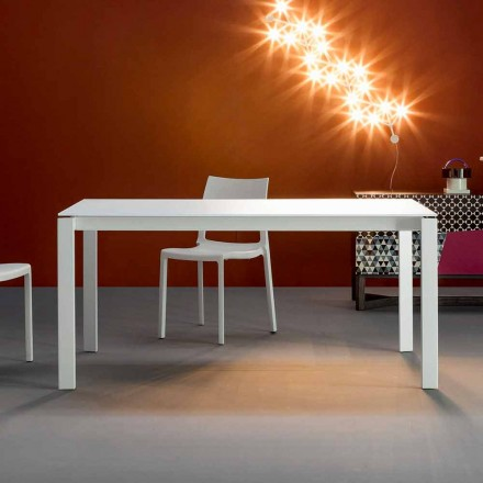 Bonaldo Menù extending table with white crystal top, made in Italy