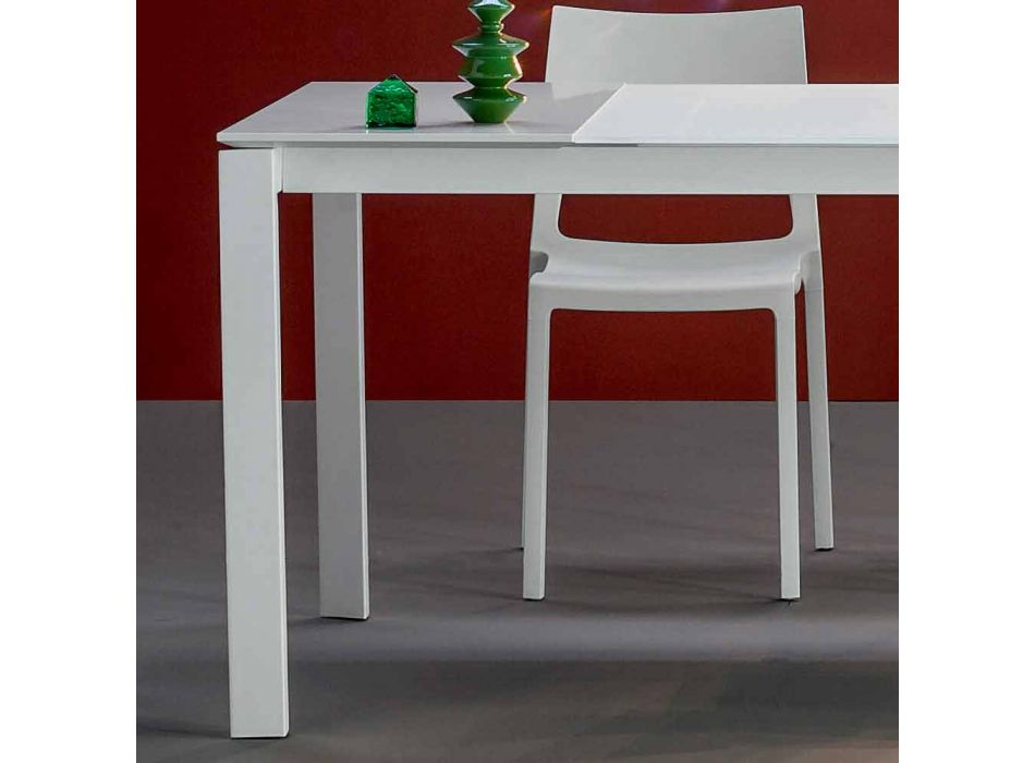 Bonaldo Menù extensible table with white crystal top made in Italy