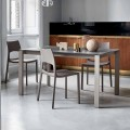 Bonaldo Menù extending table with dove grey crystal top, made in Italy
