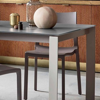 Bonaldo Menù extendable table with taupe crystal glass made in Italy